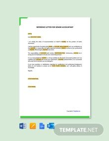 Free Reference Letter For Senior Accountant