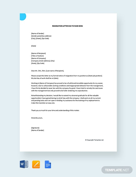 Free Resignation Letter Due To Rude Boss