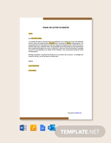 Free Thank You Letter To Mentor