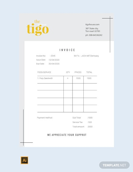 Free Restaurant Invoice Template