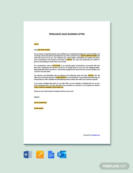 Free Persuasive Sales Business Letter