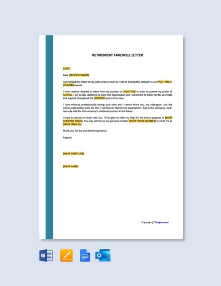 Free Retirement Farewell Letter