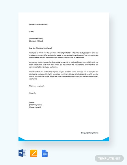 Free Scholarship Rejection Letter