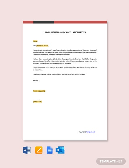 Union Membership Cancellation Letter