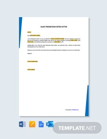 Free Sales Promotion Offer Letter
