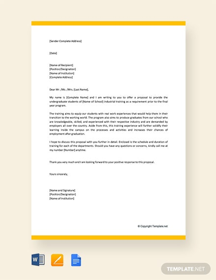 Free Industrial Training Proposal Letter