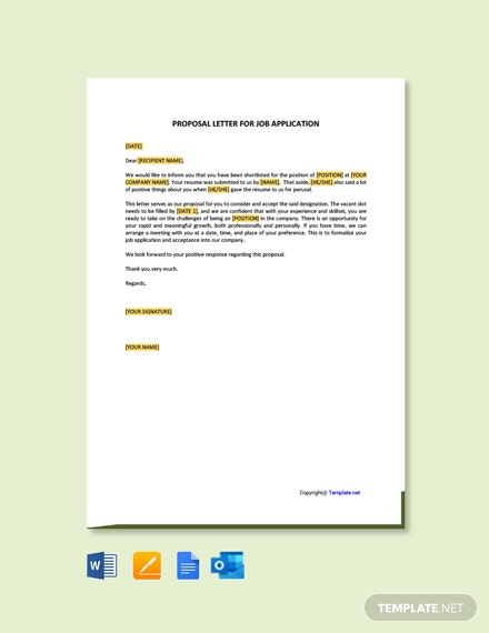Proposal Letter For Job Application Template