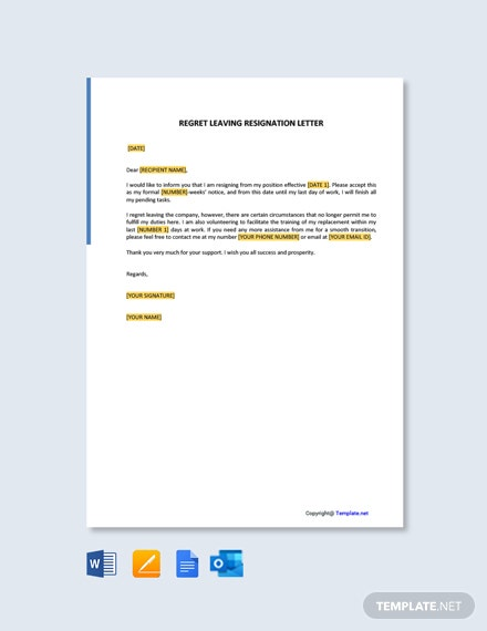 Free Regret Leaving Resignation Letter