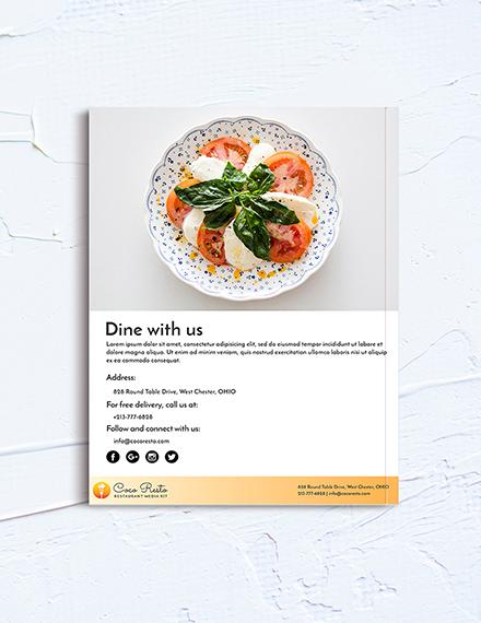 Free Printable Restaurant Business Media Kit Template