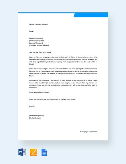 Free Training Internship Resignation Letter