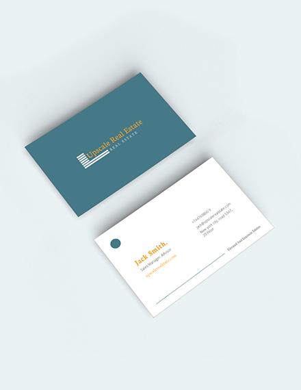 Real Estate Property Business Card Sample