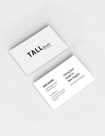 Real Estate Sales Experts Business Card Sample