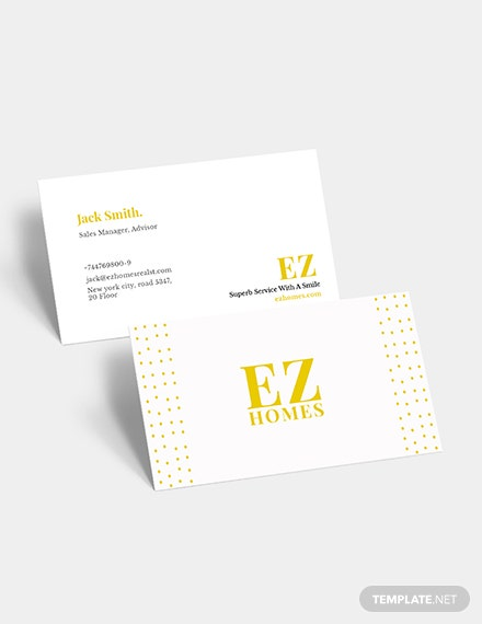 Real Estate Sales Manager Business Card Download