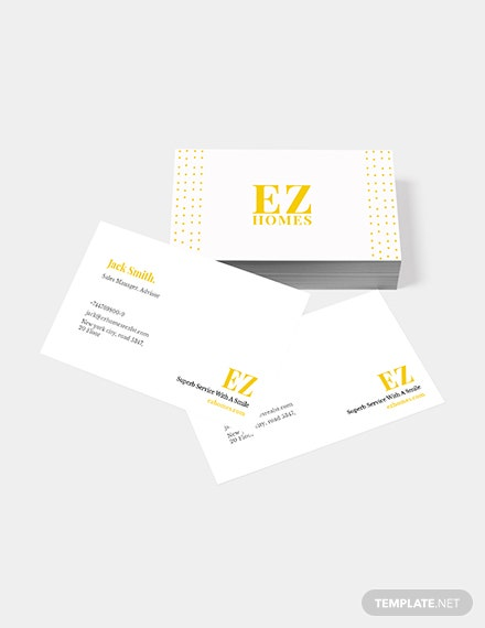 Sample Real Estate Sales Manager Business Card