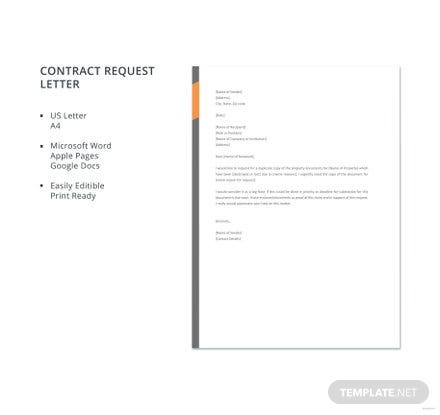 Free Contract Request Letter Template