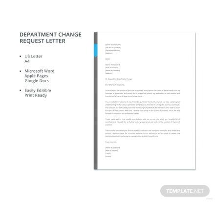 Free Department Change Request Letter Template