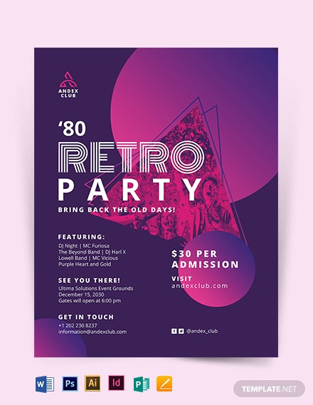 80s Party Flyer Template
