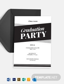 Black and White Graduation Party Invitation Template
