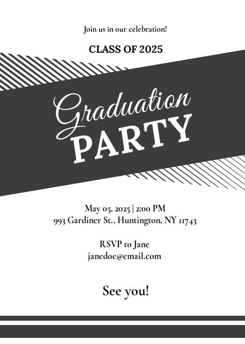 Black and White Graduation Party Invitation Template.jpe