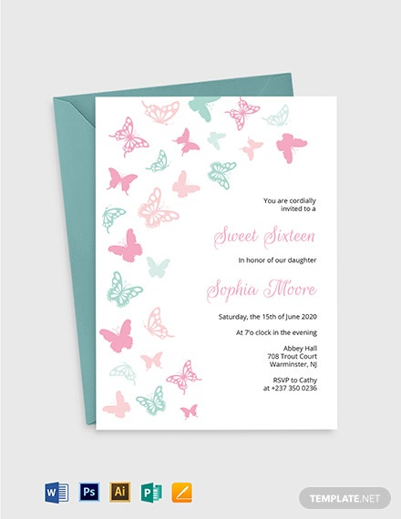 Butterfly Birthday Invitation Template