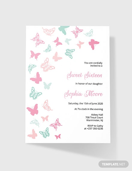 Sample Butterfly Birthday Invitation
