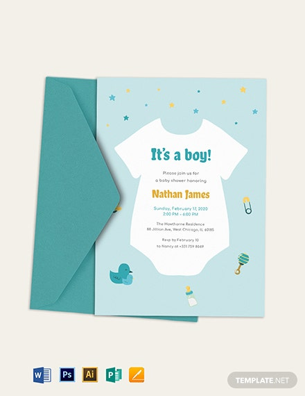 Oneside Baby Shower Invitation Template