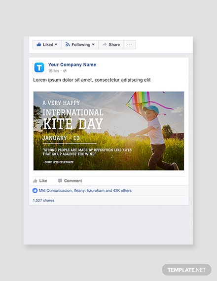 Free International Kites Day Facebook post Template
