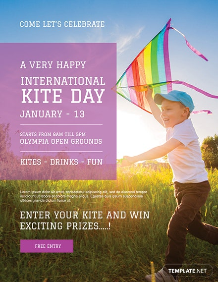 Free International Kites Day Flyer Template