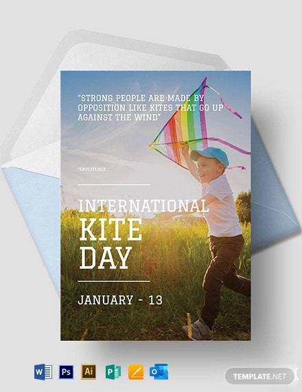 International Kites Day Greeting Card Template
