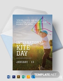 Free International Kites Day Greeting Card Template