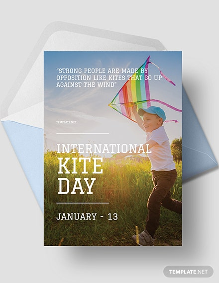 Free International Kites Day Greeting Card Template