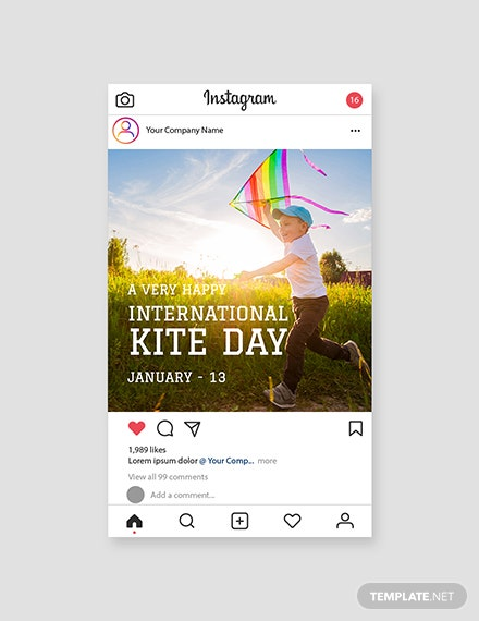 Free International Kites Day Instagram Post Template