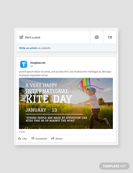 Free International Kites Day Linkedin Post Template
