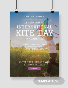 Free International Kites Day Poster Template