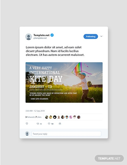 Free International Kites Day Twitter Post Template