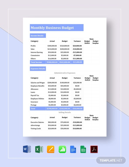 Monthly Business Budget Template Word Doc Excel Google Docs Apple Mac Pages Google Sheets Apple Numbers