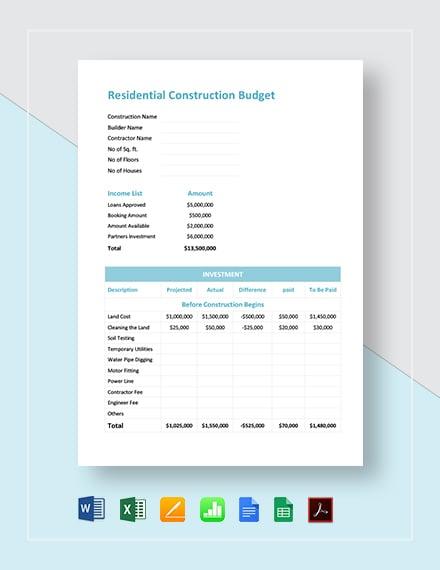 residential construction budget template download 170. Black Bedroom Furniture Sets. Home Design Ideas