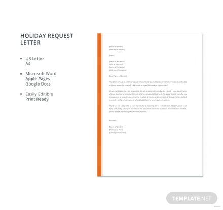 Free holiday request letter template download 700 letters in word free holiday request letter template altavistaventures Gallery