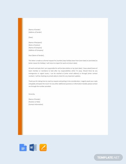Free Holiday Request Letter Template Download 700 Letters In Word