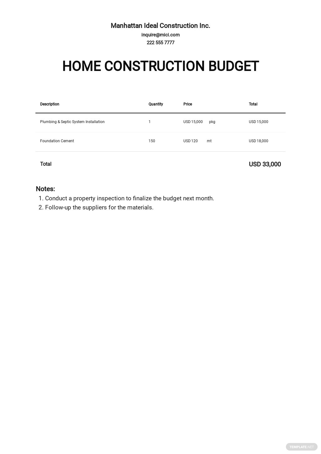 Home Construction Budget Template