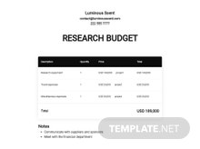 Research Budget Template