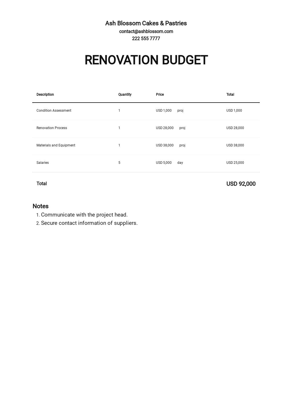 Renovation Budget Template