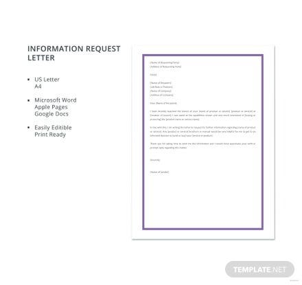 Free Information Request Letter Template