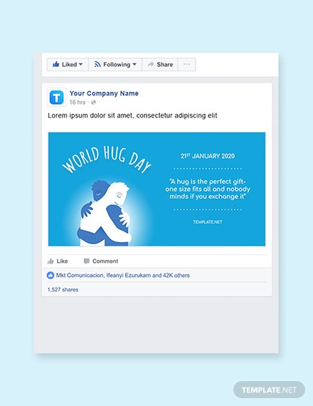 Free World Hug Day Facebook Post Template