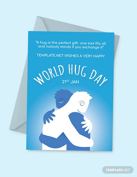 Free World Hug Day Greeting Card Template