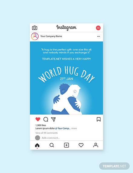 Free World Hug Day Instagram Post Template
