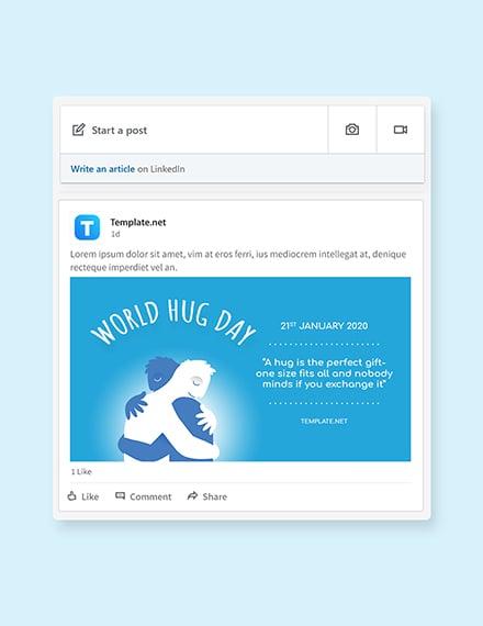 Free World Hug Day Linkedin Post Template