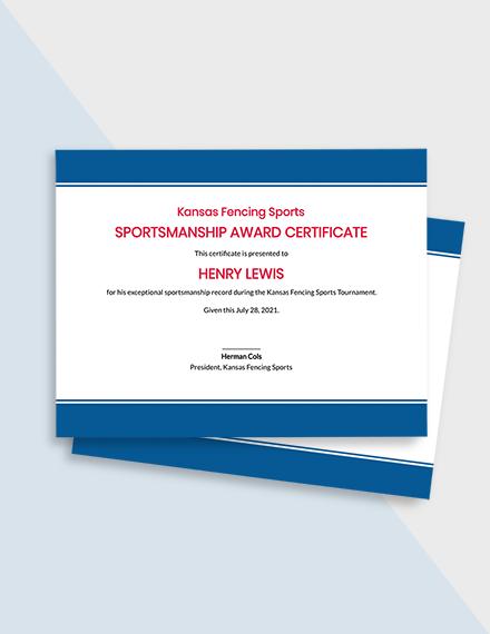 Sportsmanship Award Certificate Template