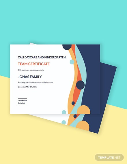 Team Certificate Template