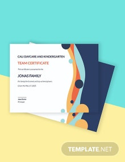 Team Certificate Template